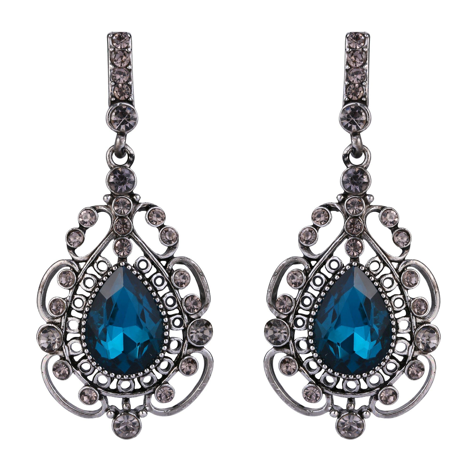 BriLove Women's Vintage Inspired Crystal Floral Hollow Teardrop Chandelier Dangle Earrings London Blue Topaz Color w/Grey Antique Silver-Tone