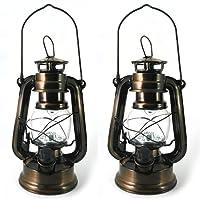 Lot de 2 Lanterne LED Tempête - Lampe Decorative Vintage Retro Bronze à Pile pour Camping, Maison, Table, Déco de PK Green
