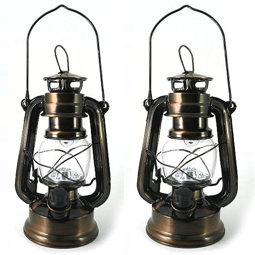 Set de 2 Faroles Decorativos LED a Pilas - Lámpara Vintage de Mesa, Camping, Jardín, Salon - Estilo Farol Aceite de PK Green