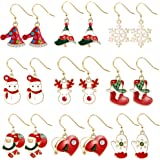 Christmas Drop Dangle Earrings Jewelry Set for Thanksgiving Womens Girls Kids Including Holiday Xmas Jewelry Snowman Snowflake Abduct Deer Gift box Sock Santa Claus Christmas Tree Bell