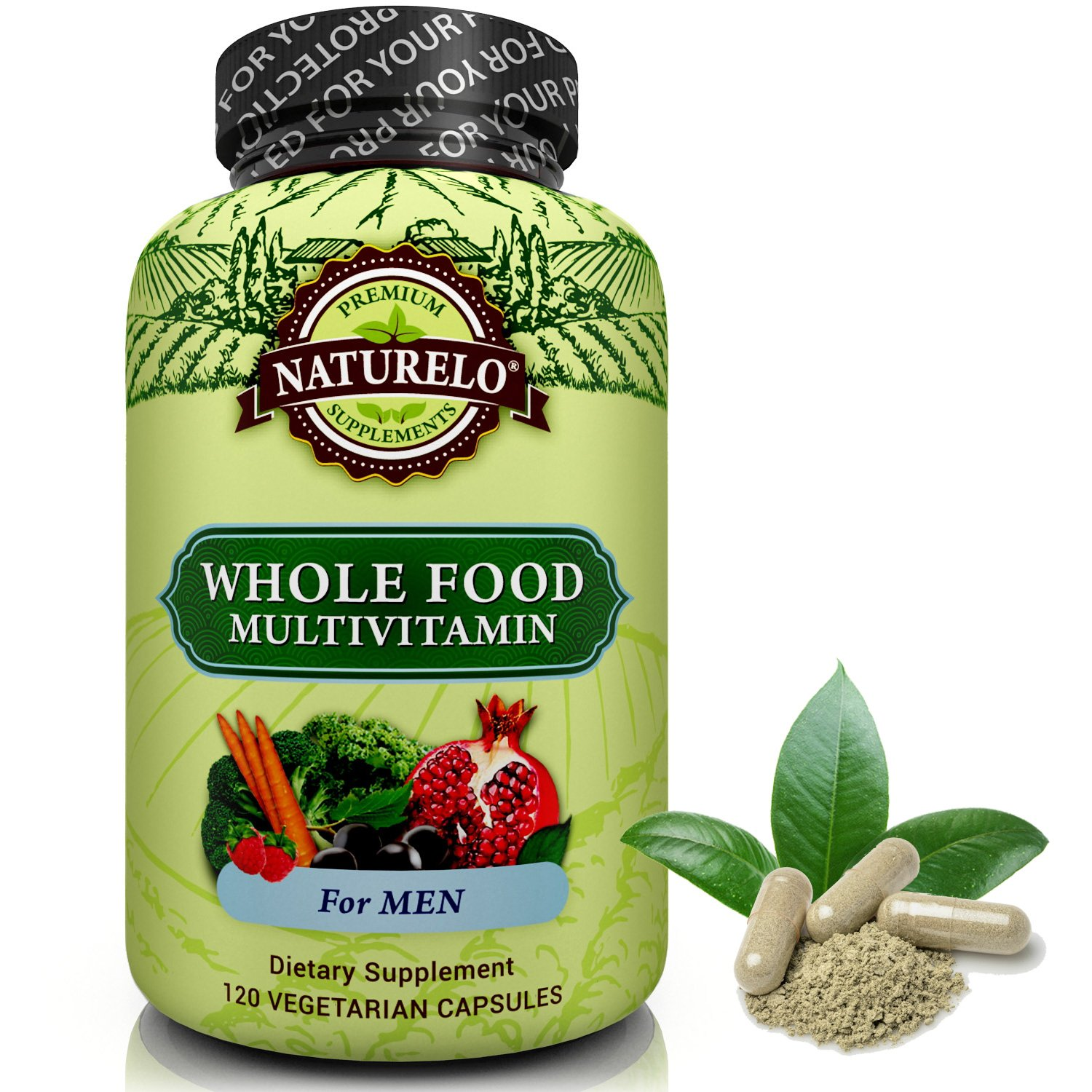 NATURELO Whole Food Multivitamin for Men - #1 Ranked - with Natural Vitamins, Minerals, Organic Extracts - Vegan Vegetarian - Best for Energy, Brain, Heart and Eye Health - 120 Capsules