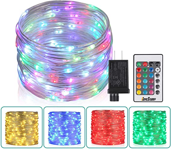33Ft Outdoor LED Rope Lights String Lights, Christmas Fairy Lights Plug in  100 LEDs Color Changing String Lights with Remote Waterproof for Outdoor,  Wedding, Party, Garden, Home Decor, 16 Colors - - Amazon.comAmazon.com