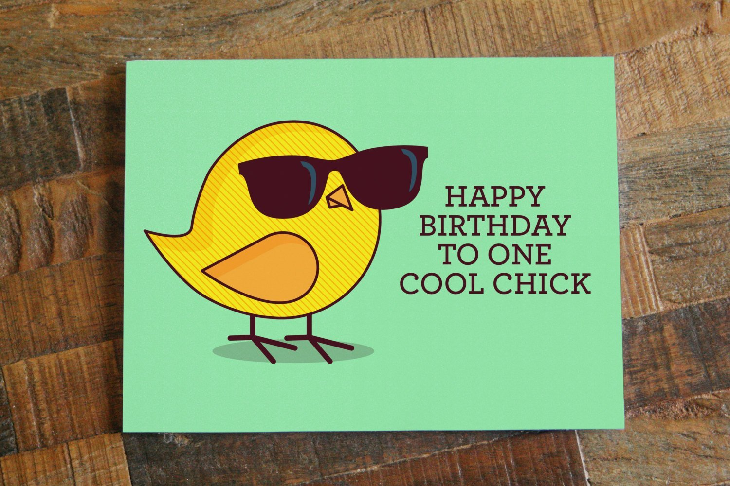 """Funny Birthday Card For Her - """"Happy Birthday to One Cool Chick"""" - Bird  Card for Women Girls"""