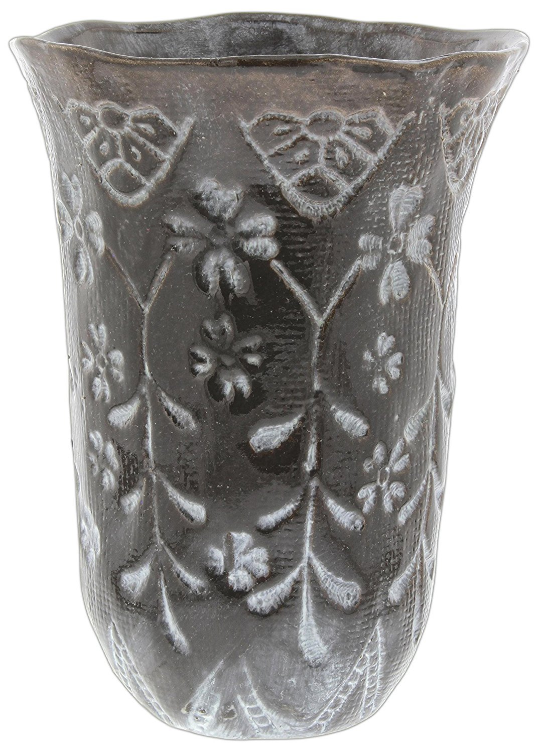 Hill's Park's Brown Ceramic Vase Abstract Hand-Thrown Design, 7.5''