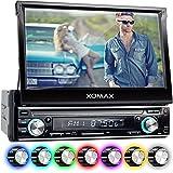 """XOMAX XM-VRSU743BT Autoradio / Moniceiver + 18 cm / 7"""" High Definition HD Touchscreen Bildschirm + Audio & Video: MP3 inkl ID3 TAG, WMA, MPEG4, AVI, etc. + Bluetooth Freisprecheinrichtung & Musikwiedergabe via A2DP + Beleuchtungsfarben: 7 Farben + USB Anschluss bis 128 GB! + SD Kartenslot bis 128 GB! + RDS Radio Tuner + Rückfahrkamera Anschluss + Anschluss für Subwoofer + Single DIN (1 DIN) Standard Einbaugröße + inkl. Blende, Einbaurahmen"""