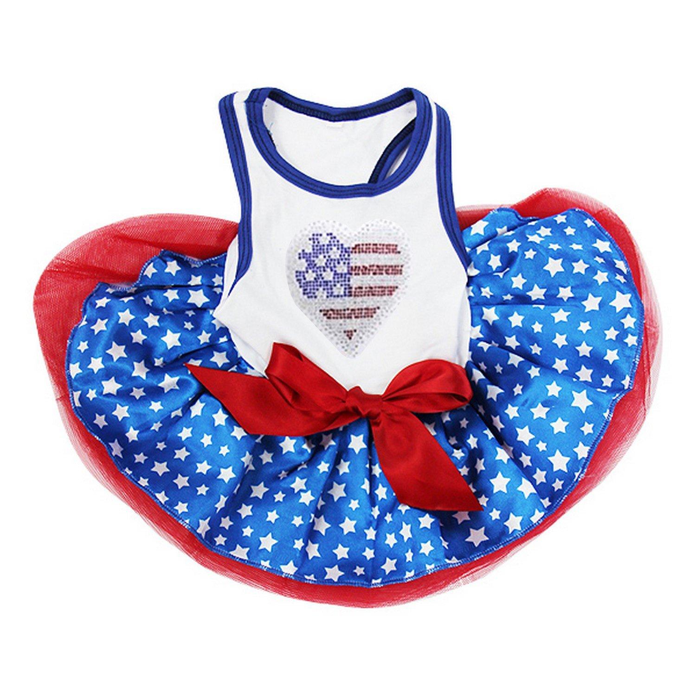 Kirei Sui USA Flag Heart Blue Stars PETS Tutu Dress Large White
