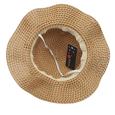 Summer Girl Half a Flanging Straw Hat Beach Sun Cap with Two Knit Cotton/_khaki