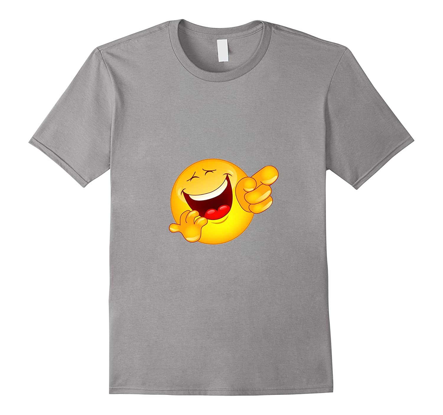 Point Laugh Emoticon T-Shirt Emoji Pointing and Laughing Ha-TD