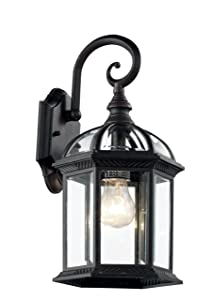 "Trans Globe Lighting 4181 BK Outdoor Wentworth 16"" Wall Lantern, Black"