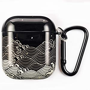Simple Plus+ Case for AirPods, Protective Dustproof Soft TPU AirPods Case Cover, Shockproof and Waterproof Case Cover with Keychain, Compatible with Apple AirPod 2 and 1, Front LED Visible(Sea Wave )