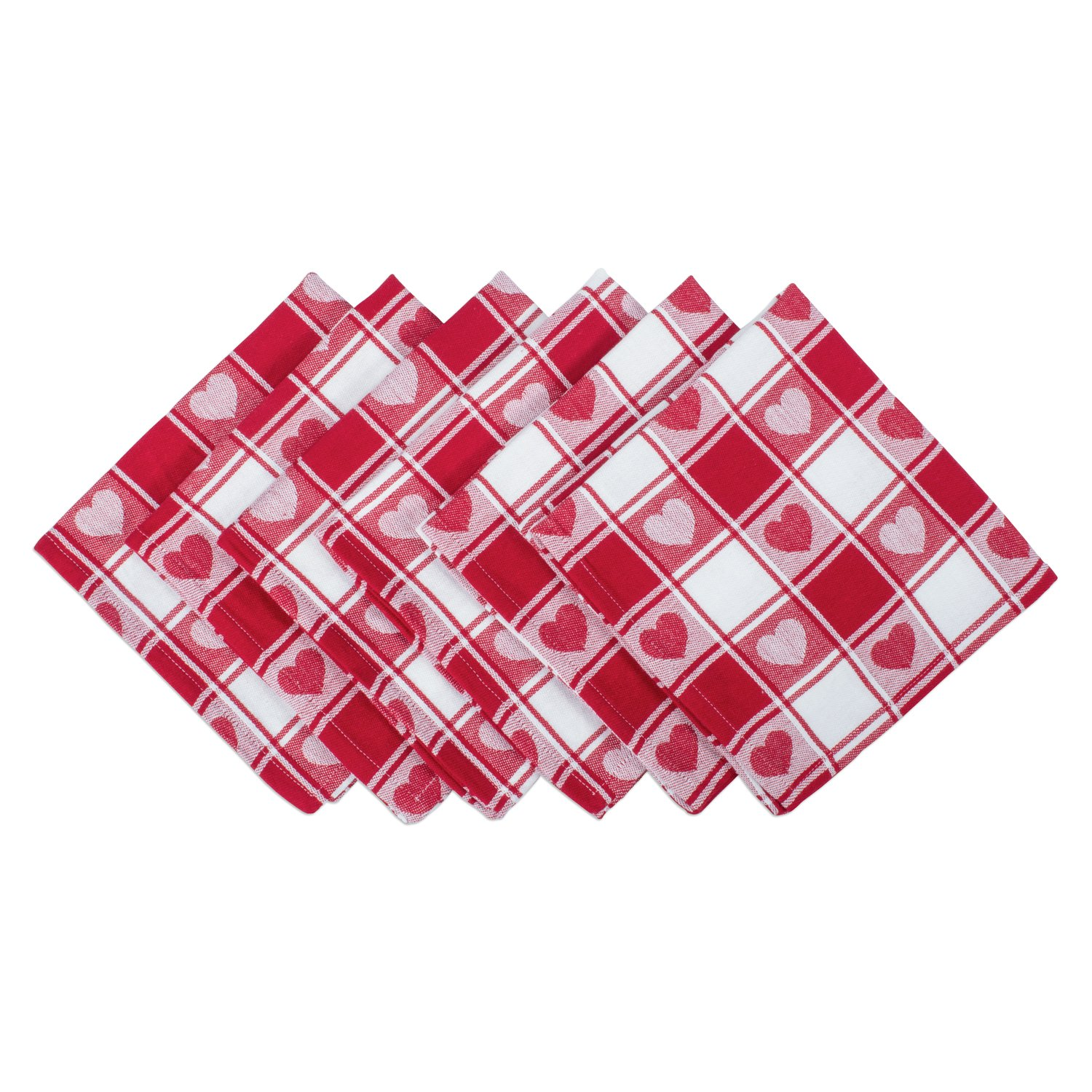 DII Valentine's Day Red & White Checkered Hearts 100% Cotton Napkins (Set of 6, Oversized 20 x 20) Machine Washable - Beautiful Gift for Valentine's Day, Mother's Day, Housewarming