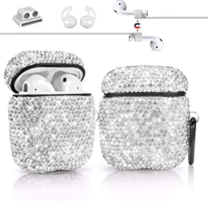 Newseego Compatible with AirPods 1 & 2 Case, Keychain+Anti-Lost Strap+Ear Hooks+Watch Band Holder,Protective Bling Crystal Glitter Luxury Shining Diamond Rhinestone Gift Scratch/Drop Proof-White