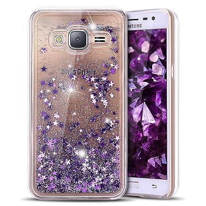 Anfire Funda para Samsung Galaxy J3 2016 Carcasa Glitter Silicona Líquido Arenas Movedizas Bling TPU Case Transparente Cubierta Caja Claro Cristal ...