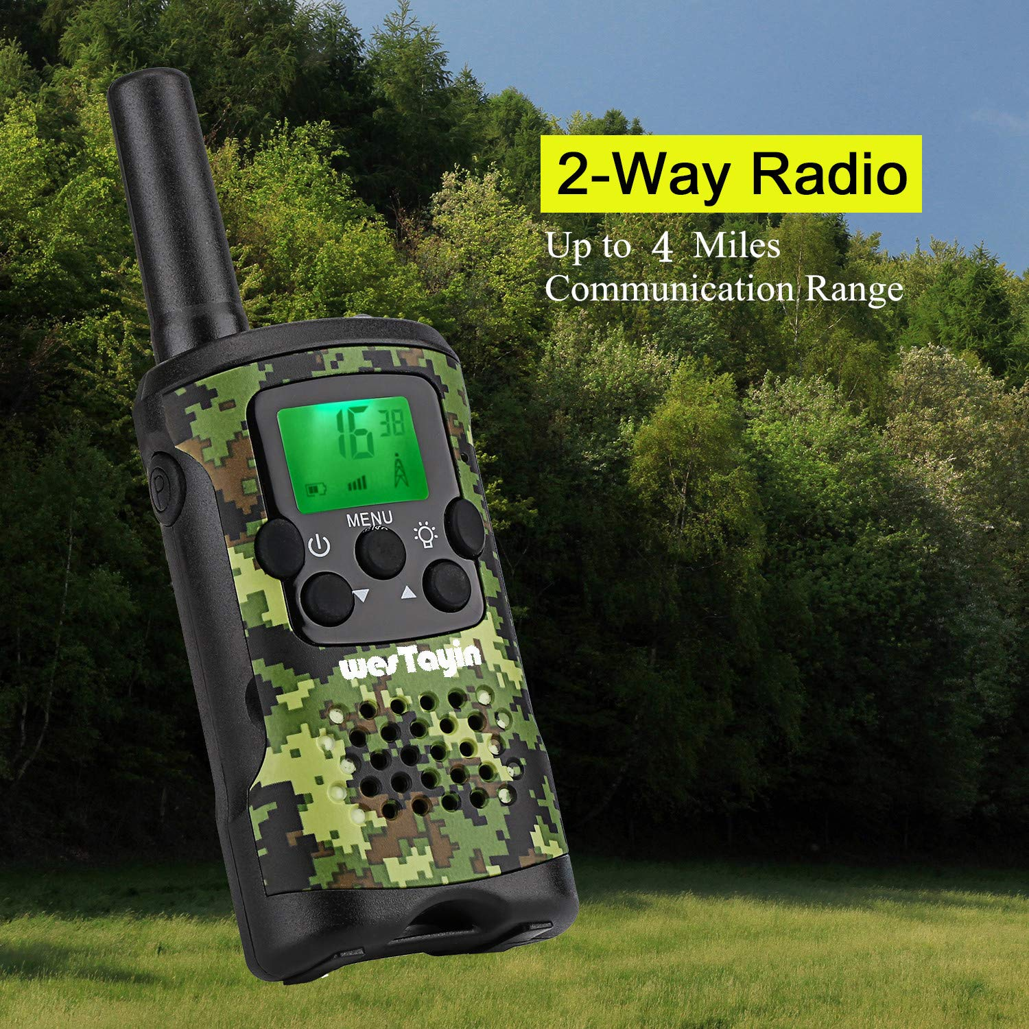 2 Pack Walkie Talkies for Adults 22 Channels with Crystal Sound Green Camo Long Range T4801 Kids Walkie Talkies with Vox-Hands Free Westayin Range Up to 4 Mile Walkie Talkies