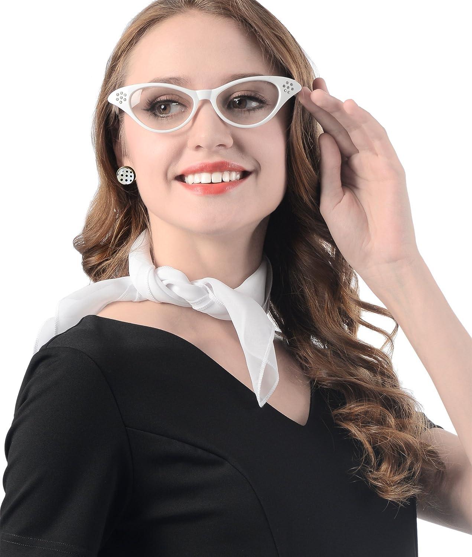 50s Chiffon Scarf,Cat Eye Glasses,Bandana Tie Headband,Drop Dot Earrings,50s Style Gloves 50s Costume Accessories Set