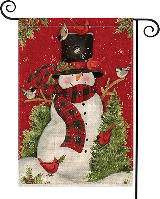 AVOIN Snowman with Buffalo Plaid Scarf Garden Flag Vertical Double Sized, Winter Holiday Christmas Yard Outdoor Decoration 12.5 x 18 Inch