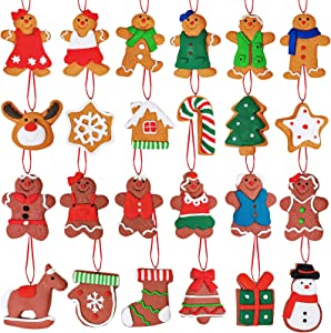 24 Set Christmas Tree Ornaments Hanging Advent Calendar Ornaments Clay Figurine Gingerbread Family Dolls Gingerman Reindeer Snowmen Ornaments for Kids Gift Holiday Kitchen Christmas Tree Decoration