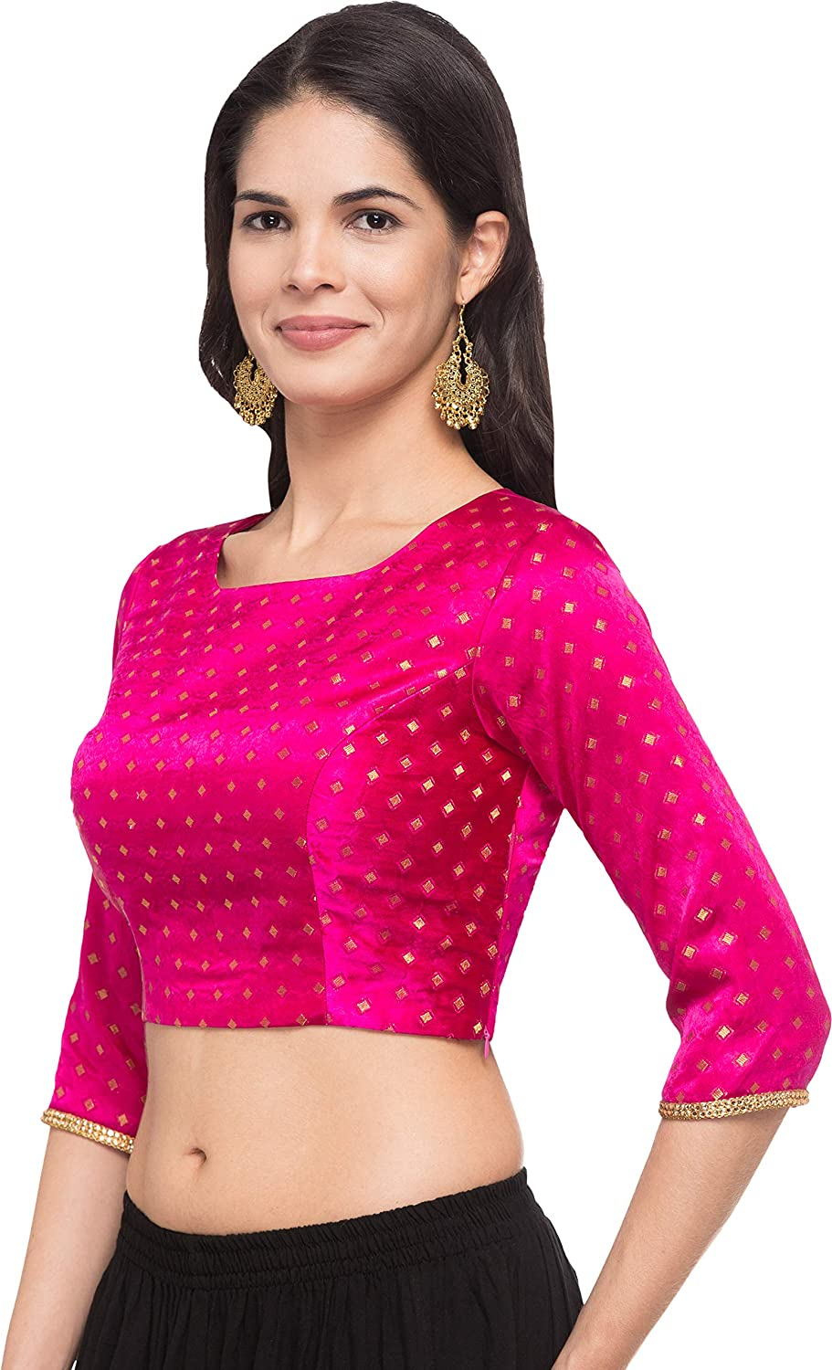 ea7c10d9d109aa Just B Women s Brocade and Georgette Dobby Print Design Round Neck  Readymade Blouse (Pink