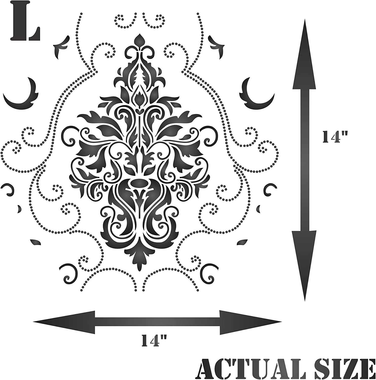 M Use On Paper Projects Scrapbook Journal Walls Floors Fabric Furniture Glass Wood Etc. 28 x 25.5cm Damask Stencil - Reusable Large Floral Allover Pattern Wall Stencil Template