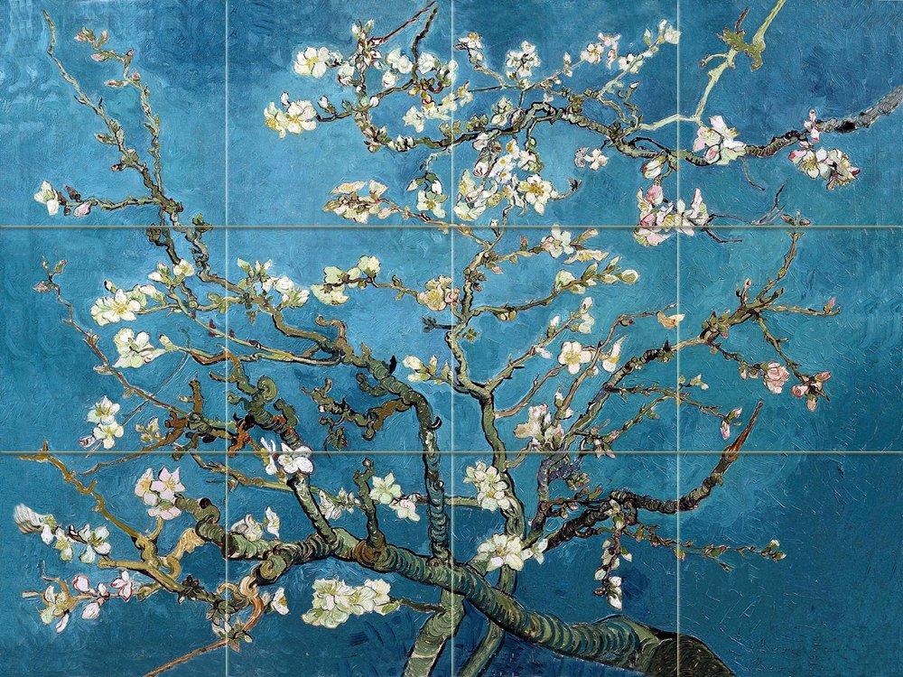 FlekmanArt Blossoming Almond by Van Gogh Vincent - Art Ceramic Tile Mural 32'' W x 24'' H (8x8 Tiles), Kitchen Shower Bath Backsplash