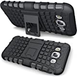 Shockproof Cover for Samsung Galaxy E7, DMG Rugged Hard Back Cover Kickstand Armor Case for Samsung Galaxy E7 (Black)