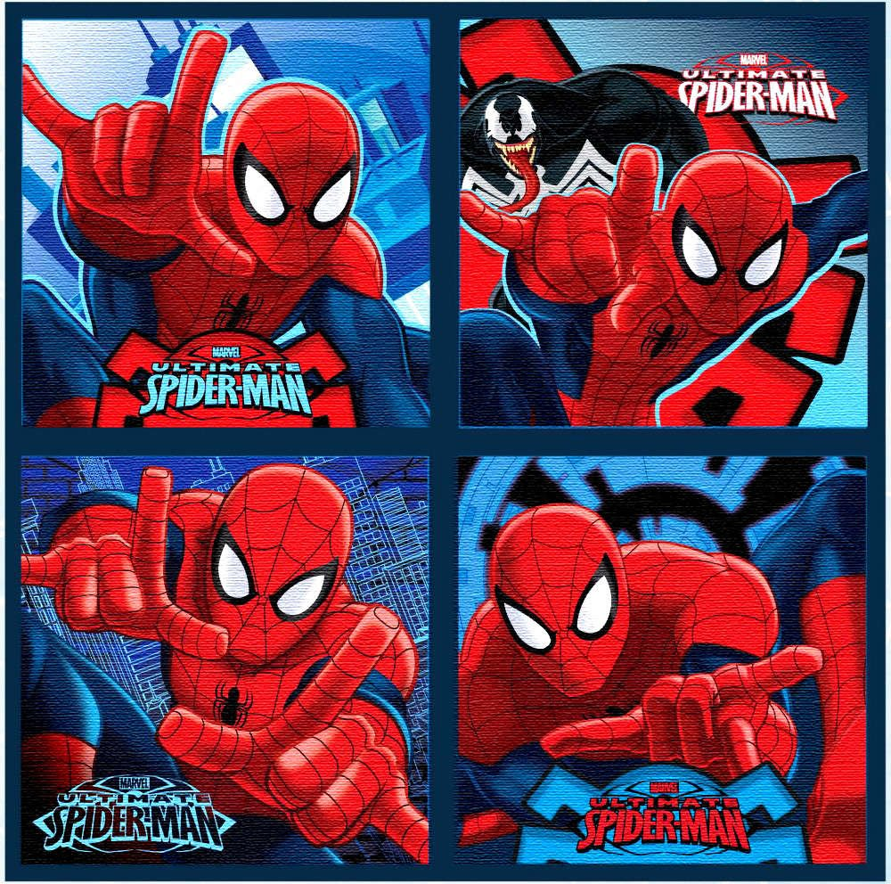 4-Pack Spiderman Kids Face Towel 30x30cm Setino