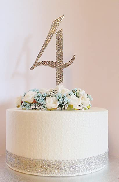 Number 4 Cake Decoration Large 12cm Silver With Clear Diamante Crystals Perfect For