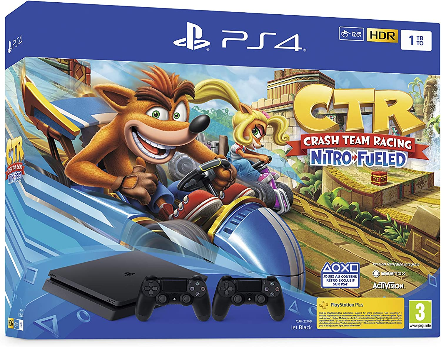 PS4 Slim 1 To F noir avec Crash Team Racing et 2nd Dual Shock 4 Noire V2 [Importación francesa]: Amazon.es: Videojuegos
