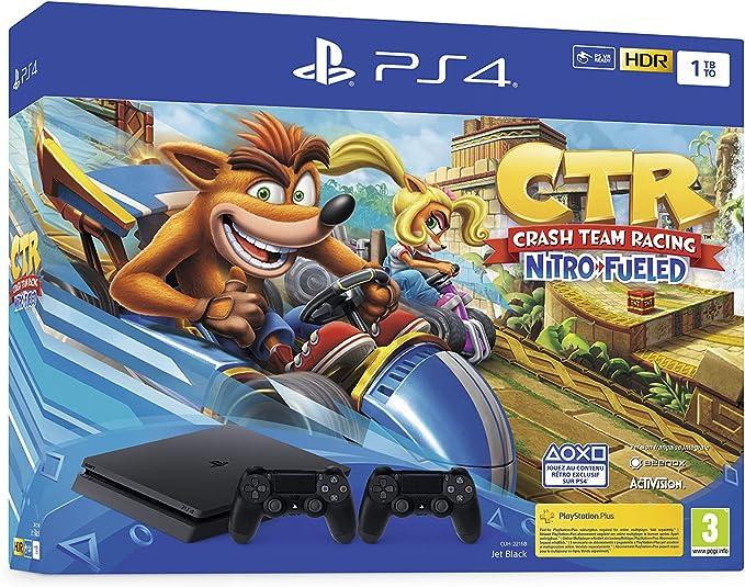 PS4 Slim 1 To F noir avec Crash Team Racing et 2nd Dual Shock 4 ...