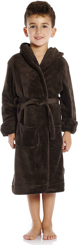 Leveret Kids Robe Boys Girls Solid Hooded Fleece Sleep Robe Bathrobe (2 Toddler-16 Years) Variety of Colors