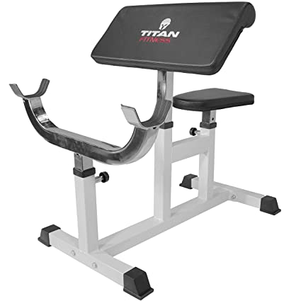 Amazon.com : titan preacher curl station seated strength training