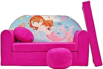 Pro cosmo h4 bambini divano letto futon con pouf poggiapiedi cuscino