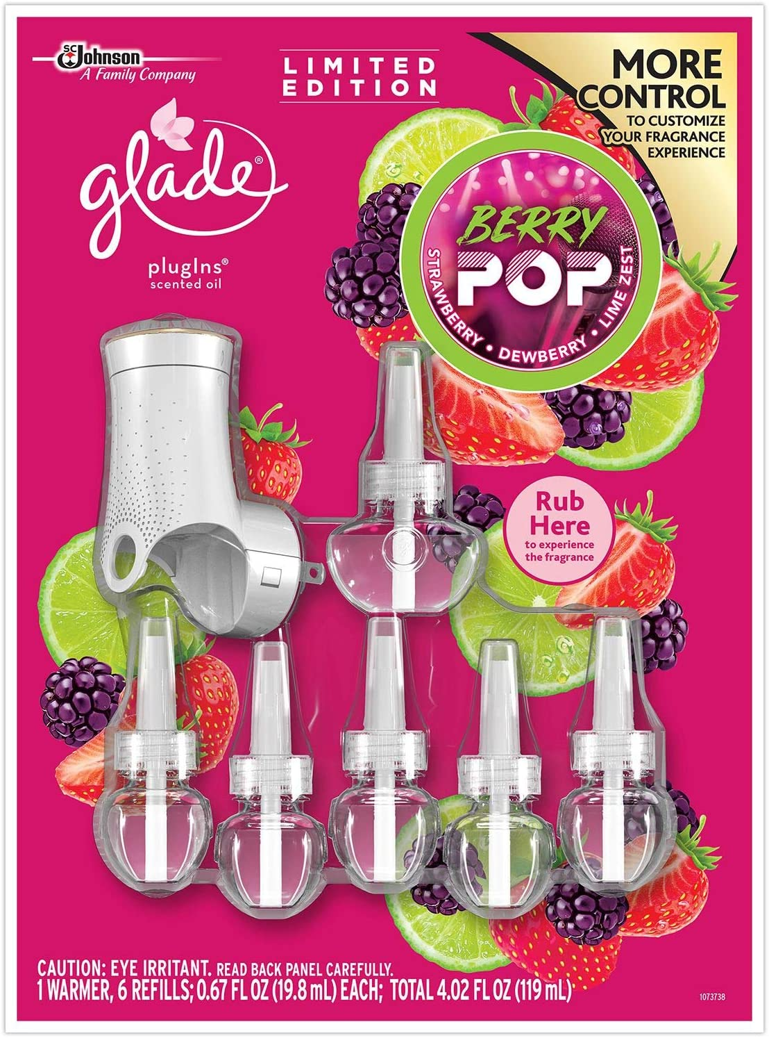 Glade Plugins Berry Pop 1 Scented Oil Warmer & 6 Scented Oil Fragrance Refills
