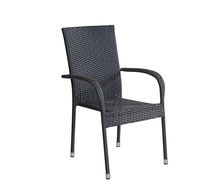 Stapelstuhl Armlehnstuhl Gartenstuhl in schwarz mit Armlehnen stapelbar für Garten, Terrasse, Balkon oder Bistro - Gartenmöbel Stühle Terrassenstuhl Balkonstuhl Stuhl Gastro