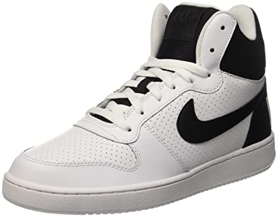 NIKE Men's Court Borough Mid Basketball Shoe, White/Black, ...
