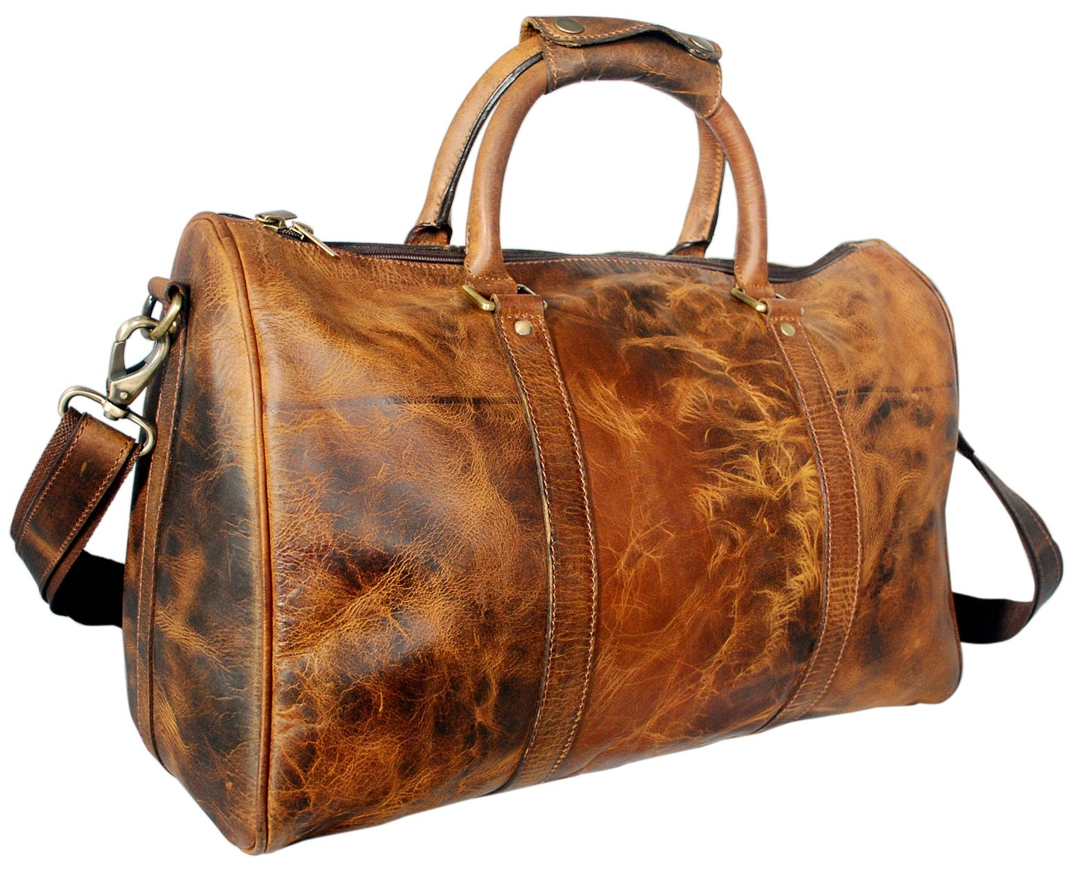 20 inch Leather Travel Duffel Bag ~ Special Pockets Inside ~ Gym Overnight Weekend by RusticTown