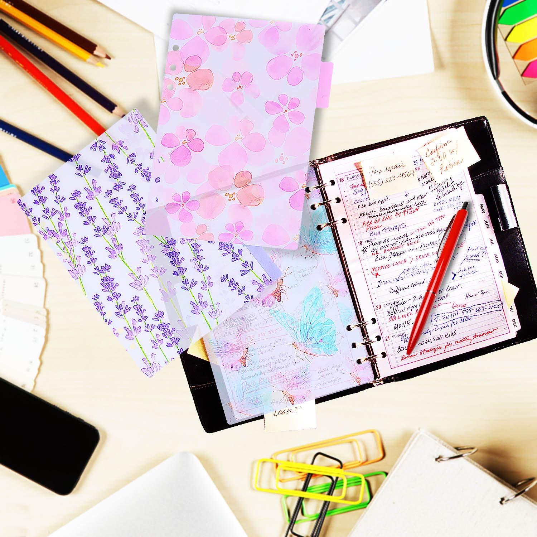 2 Set 6 Ring Allentati Leaf Binder Divisori tab Tab w// Righello per Notebook Filofax// Diario di viaggio Journal Planner,17x10cm Larcenciel A6 Divisori// PVC Personal Planner Index Divisori