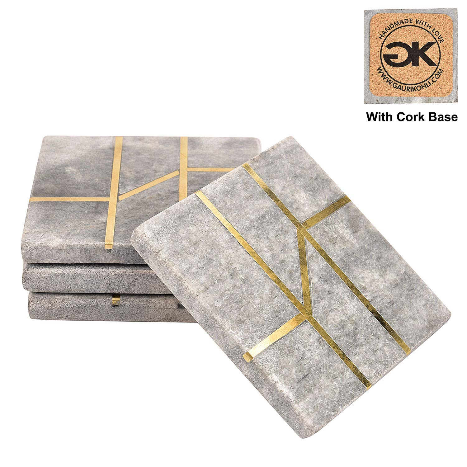 GAURI KOHLI Rustic Ocean Gray Marble Coasters With Cork Bottom; Embellished With Luxurious Gold Inlay (Large Size | Set of 4)