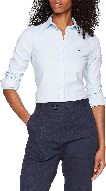 GANT Stretch Oxford Solid Shirt Blusa, Azul (Light Blue 455), 38 (Talla del Fabricante: 36) para Mujer: Amazon.es: Ropa y accesorios