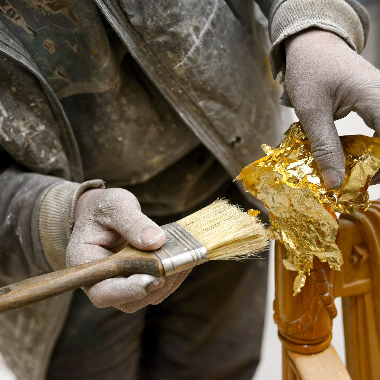 Fabrication de Dorure D/écoration dArtisanat 200 Feuilles Feuille dImitation pour Projet Artistique 5.5 par 5.5 Pouces DIY Or Meubles