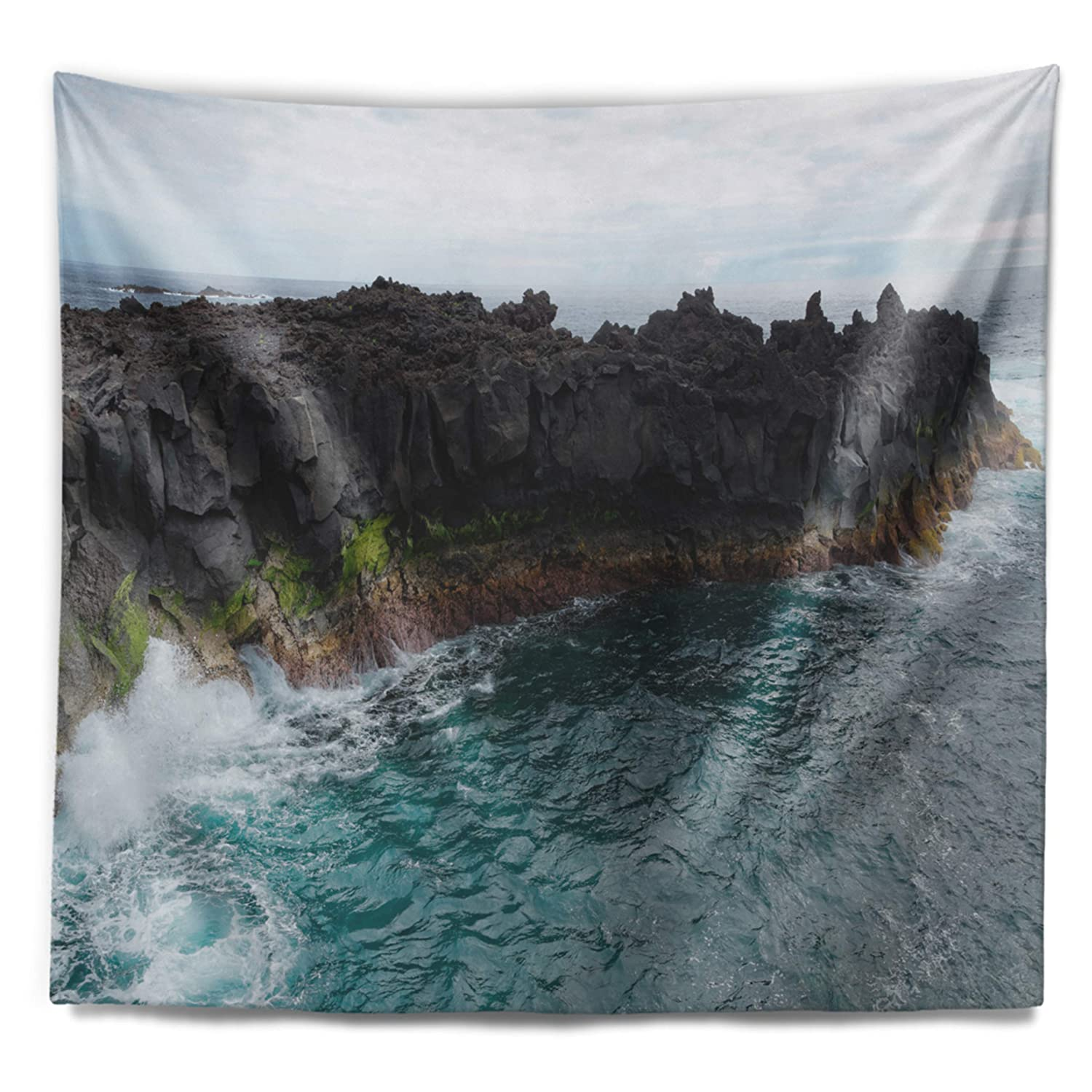 Created On Lightweight Polyester Fabric 39 in x 32 in Designart TAP11162-39-32  Rocky Coast with Moss in Azores Seashore Blanket D/écor Art for Home and Office Wall Tapestry Medium