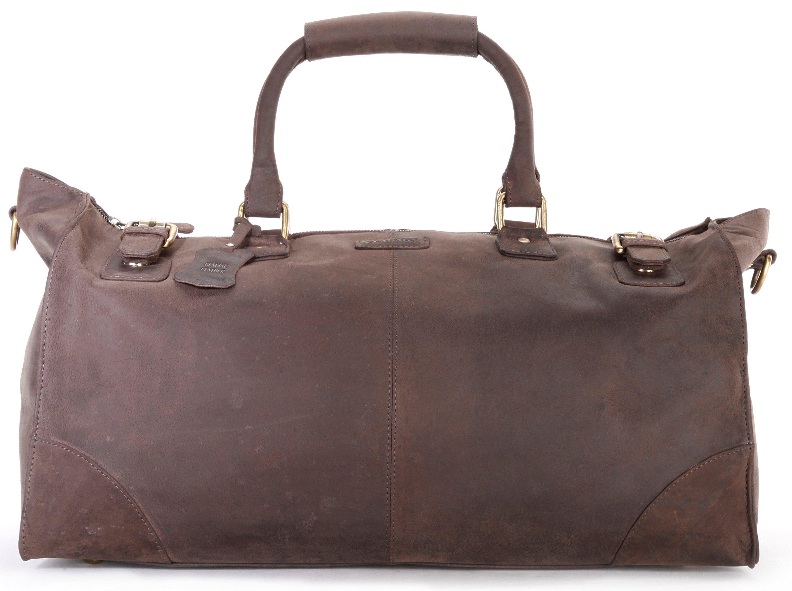 LEABAGS Durham genuine buffalo leather duffle bag in vintage style - Nutmeg