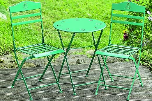 Juego de mesa Limbo Hierro Verde Un Conjunto De Mesa + 2 sillas mesa infantil Muebles de Jardín para niños Balcón Terraza: Amazon.es: Jardín