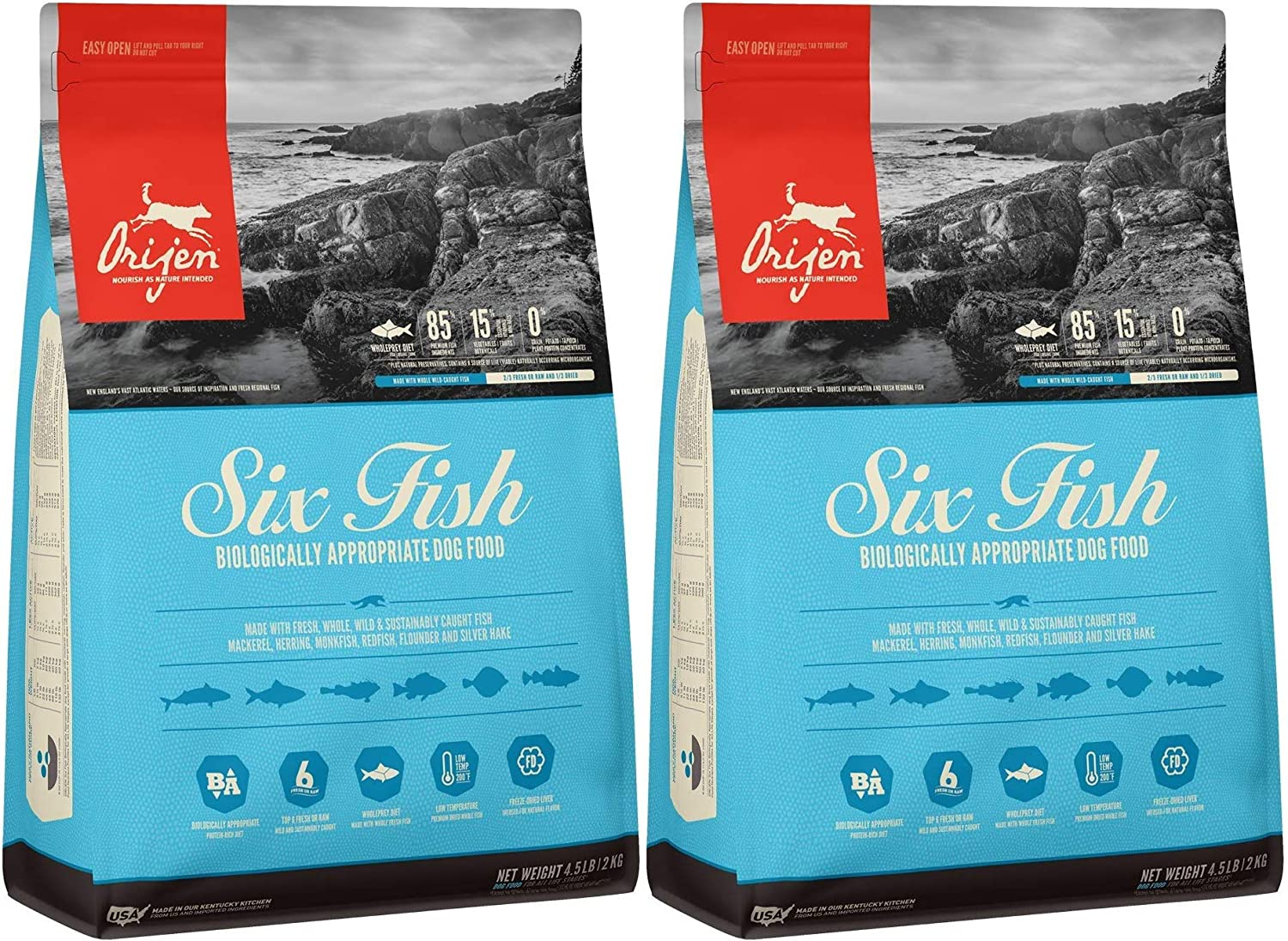 Orijen 2 Pack of Six Fish Dog Food, 4.5 Pounds Each, Made in The USA, Grain-Free, High Protein