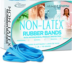 Alliance Rubber 42649#64 Non-Latex Antimicrobial Rubber Bands, 1/4 lb box contains approx. 95 bands (3 1/2