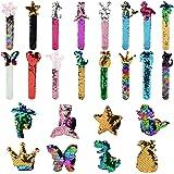 Mermaid Slap Bracelets,Kapmore 16 Pcs Mermaid Sequin Snap Bracelets Set 2 Color Magic Glitter Reversible Charm Sequins…