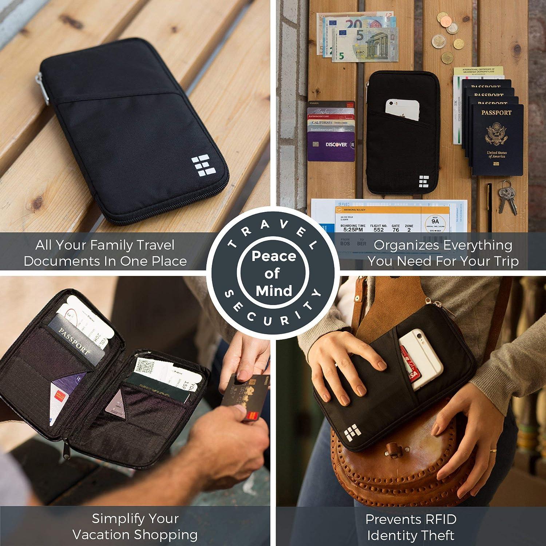 Cartera de Pasaporte de Viaje Tarjetas de identificaci/ón IWILCS Cartera Familiar con Titular de Pasaporte Bolsa de Documentos para pasaportes Estuche Familiar con Titular de Pasaporte
