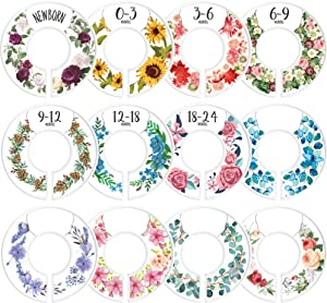 CORRURE Baby Closet Size Dividers - Complete Set of 12 Closet Dividers for Baby Clothes from Newborn to 24 Months - Best Nursery Closet Hanger Organizer for Baby Boy or Girl - Ideal Baby Gift (Floral)