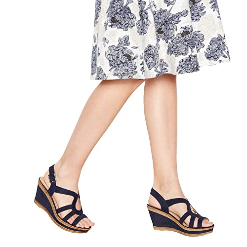 138a7f3ed31b Navy Suedette  Mod Cross  Wedge Heel Wide and Comfort Fit Sandals ...