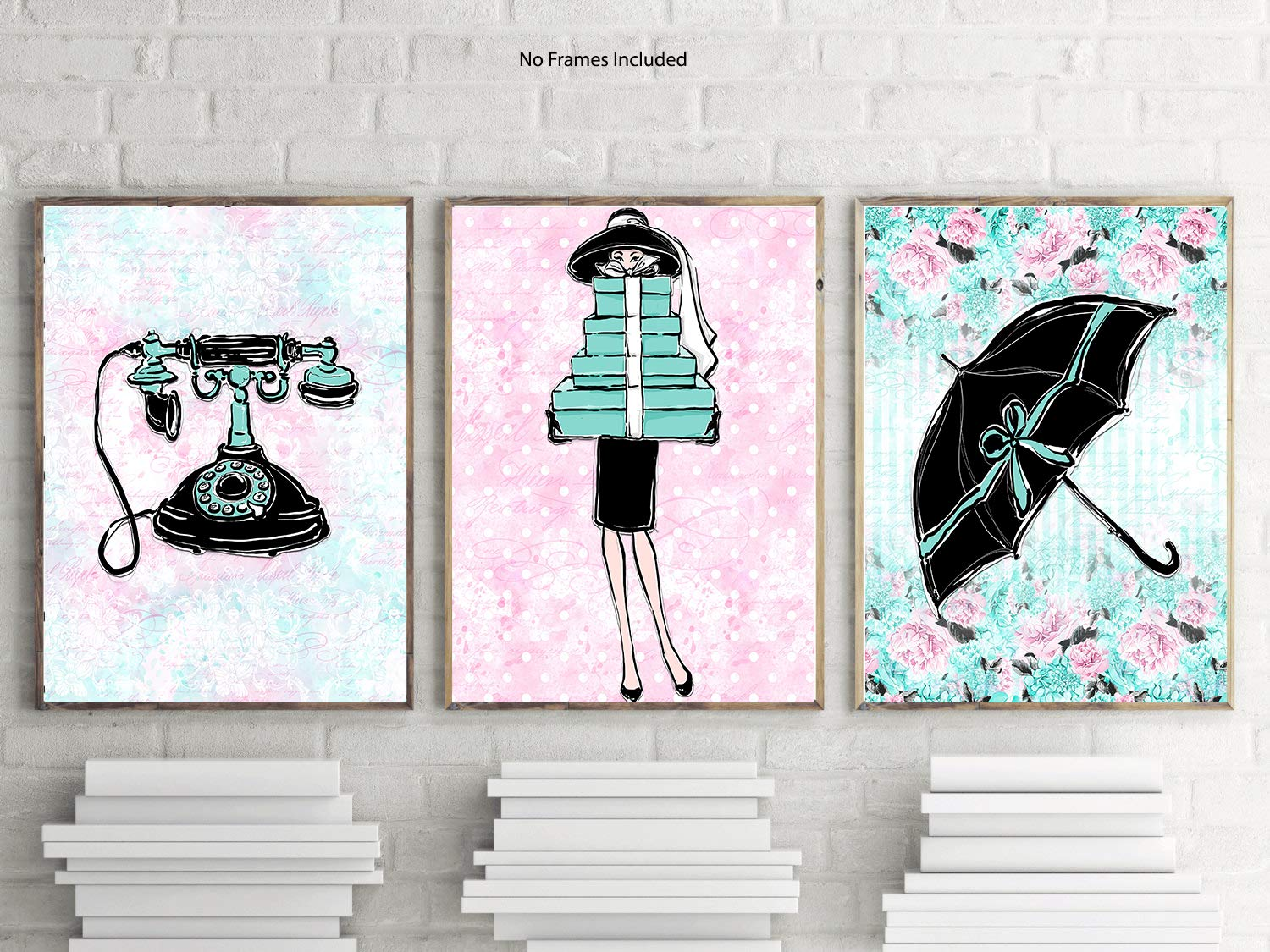 Silly Goose Gifts Fashion Breakfast Audrey Cat Themed Room Wall Art Prints Poster Decor (Umbrella)